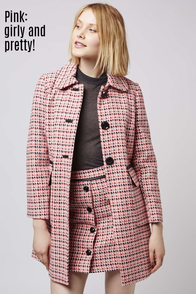 topshop pink wool coat